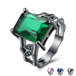 Wholesale Royal Emerald Jewelry - Gemstone Rings 18K Black Gun Plated Royal Princess Emerald Sapphire Diamond Zirconia Ring Newest Arrival Fashion Women Jewelry Top Quality