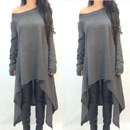 Wholesale Dovetail Shirts - Wholesale-2016 Cotton Long Sleeve oversized T shirt Women Autumn Irregular Dovetail Loose Korean Shirt Plus size 3XL QL1635