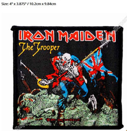 """Wholesale Iron Maiden Wholesalers - 4"""" Iron Maiden The Trooper Rock Music Band Heavy Metal Music Band Woven Iron On Patch TRANSFER MOTIF APPLIQUE Rock Punk Badge"""