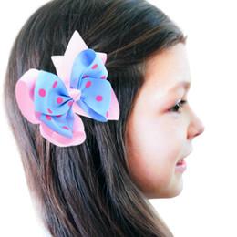 Wholesale Ribbon Layered Boutique - Printed Layered Polka Dot Ribbon Single Prong Alligator Hair Clips 8 Colors Available Big Stacked Boutique Hair Bows