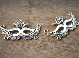Wholesale Silver Mask Charms - 10pcs--Mask Charms, Antique Tibetan silver Huge Crown Halloween Face Mask charm Pendants, Crown Mask Connector 20x39mm