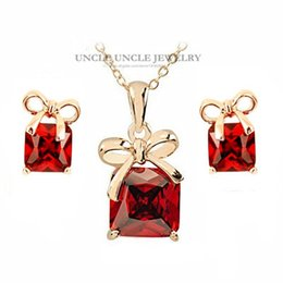 Wholesale Rhinestone Bowknot Necklace - Rose Gold Color Red Square Austrian Crystal Lovely Bowknot Style Woman Jewelry Set Earrings Necklace Wholesale