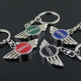 Wholesale Keys Mini Cooper - 20pcs lot 4 Color Keychain Car Silvery Keychain Keyring Key Chain Ring NeW Car Derection for BMW Mini
