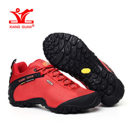 Wholesale Blue Mountains Ski - Woman Waterproof Hiking Shoes for Womens Athletic Trekking Boots Zapatillas Climbing Sports Mountain Shoe 2017 Red Outdoor Walking Sneakers