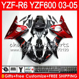 Wholesale Red Abs - 8Gifts 23Colors Body For YAMAHA YZF600 YZFR6 03 04 05 YZF-R600 56HM3 red flames YZF R 6 YZF 600 YZF-R6 YZF R6 2003 2004 2005 Fairing kit