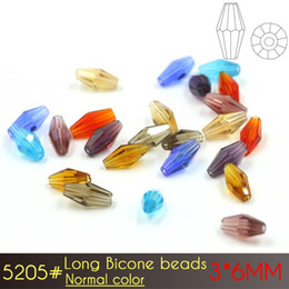 Wholesale Crystal Bicone - Crystal Elongated Bicone Beads 3x6mm Normal color A5205 80pcs set Top 1 Glass Beads Supplier Xulin Factory