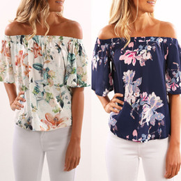 Wholesale Summer Shorts For Ladies - Fashion Sleeveless Women Off Shoulder Floral Printed Slash Neck Blouse Casual Tops T Shirt Irregular Summer Shirts for Ladies