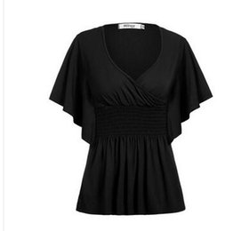 Wholesale Sexy Ladies Stripping - Ladies fashion sexy v-neck chic bat sleeve fold splicing strip of tall waist coat