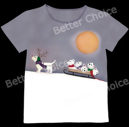 Wholesale Dog Reindeer - Wholesale-Track Ship+New Vintage Retro T-shirt Top Tee White Scottie Terrier Dog Baby Reindeer Sled on Snow Mountain 0971