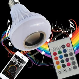 Wholesale E27 Led Lamps 12w - Free shipping Wireless 12W Power E27 LED rgb Bluetooth Speaker Bulb Light Lamp Music Playing & RGB Lighting with Remote Control