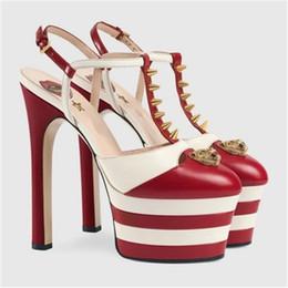 Wholesale Narrow Design - New Design Rivets Studded Multi Color Slingbacks Platform Women Sandals Pointed Toe T-Strap High Heels Pumps Runway Wedding Shoes Woman