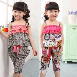 Wholesale Little Girl Beach Suit - Wholesale- 2017 Children Summer Clothing Sets Little Girls Ruffles Bow Leopard Tops Harem Pants 2 Pcs Baby Kids Bohemia Chiffon Beach Suit