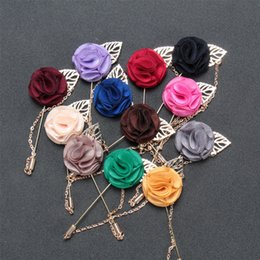 Wholesale Mens Flower Lapel Pins - Wholesale- Mdiger Business Suits Handmade Flower Brooch Insert Long Chain Pin Fashion Mens Flower Metal Brooches Lapel Pins For Wedding