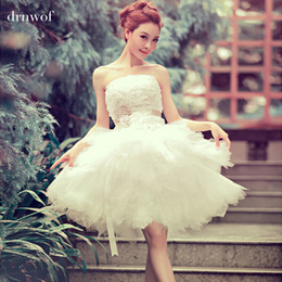 Wholesale Mini Wedding Dress Tulle Sweetheart - 2017 new arrival ball gown short lace sweetheart sequined flower elegant women formal wedding dresses size 2 4 8 12 White dress