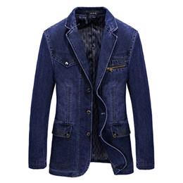 Wholesale Casual Men Fit Blazer - Wholesale- 2017 Spring New Arrival Brand Clothes Men Jackets Blue Denim Blazer Overcoat Slim Fit Jeans Casual Blazer Jacket Coats CLOTHES