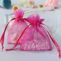 """Wholesale Hot Pink Organza Favor Bags - Wholesale- 50 Pieces Fuchsia   Hot Pink Wedding Favor Jewelry Gift Candy Bag Strong Sheer Organza Pouch 3"""" x 3.5"""" 7cm x 9cm Wholesale"""