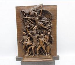 "Wholesale Art Bronze Sculpture - 18""Western Art Sculpture Bronze Marble Angell Warrior Victory Statue"