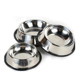 Wholesale Plastic Cat Bowls - Stainless Dog Bowl Pets Steel Standard Pet Dog Bowls Puppy Cat Food or Drink Water Bowl Dish CCA7201 50pcs