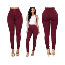 Wholesale Stretchy Women S Jeans - Sexy Women Trousers Fashion High Waisted Jeans Soft Skinny Stretchy Pant Slim Bodycon Blue Leggings Plus Size Cotton XXXL Pencil Pants F1077