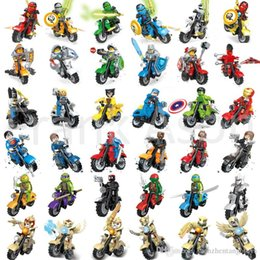 Wholesale Toy Motorcycle Wholesale - 108pcs Mix Order Minifig with Motorcycle Super Heroes Figures Nexo Knights Motorcycles Ninja Chima Mini Building Blocks Figures Toy
