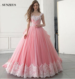 Wholesale Girls Pink Puffy Dresses - Ball Gown Pink Party Dress With Ivory Lace Appliques Flowers Puffy Tulle Princess Prom Gowns For Girls Formal Wear