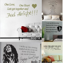 Wholesale vinyl wall art sayings - Bob Marley Saying Quotes Wall Sticker Vinyl Removable Decals Art Wallpaper Family Love Home Decoration Free Shipping