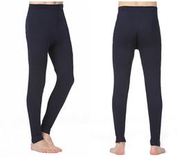 Wholesale Thin Male Thermal Underwear - Male Thermal Underwear thermal cotton long johns medium-waist Stretch Skinny Tight Pants men fitness thin leggings warm pants Leggings