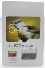 Wholesale Micr Sd Card - 100 pcs Class 10 EVO 128GB 64GB Micr SD Card MicroSD TF Memory Card C10 Flash SDHC SD Adapter SDXC White Orange Retail Package