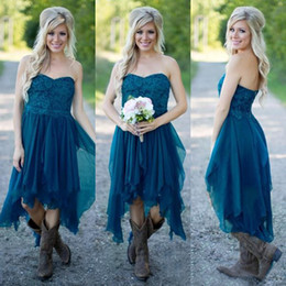 Wholesale Teal Blue Weddings - Country Bridesmaid Dresses 2017 Short Hot Cheap For Wedding Teal Chiffon Beach Lace High Low Ruffles Party Maid Honor Gowns Under 100