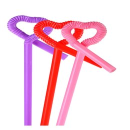 Wholesale Straw Suction - Wholesale-100pcs colorful Plastic Straw Drinking sucker suction tube for Birthday Party wedding creative straws bar wine cup decoration