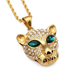 Wholesale Gold Leopard Pendant - Trendy 18K Gold Leopard Head Pendant Necklace Titanium Steel Hip Hop Style Jewelry Paved White Rhinestone Crystal Necklaces