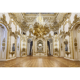 photo wall prints Promo Codes - Luxury Palace Chandelier Photography Backdrops Gold Carvings on White Wall Interior Wedding Photo Shoot Backgrounds for Studio