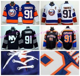 Wholesale John Tavares Jersey - New York Islanders 91 John Tavares Jersey Ice Hockey Sports Fashion Man Team Color Blue Black Premier Alternate White All Embroider Logos