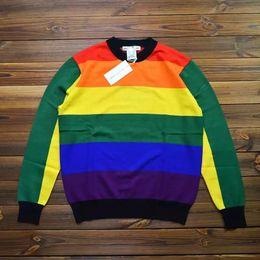 Wholesale knit sweater patterns women - 17SS VETEMENTS X PLAY Sweater Rainbow Stripe Ax Pattern Blue And Black Stripes Men Women HFXYWY002