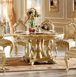 Madeira maciça antiga on-line-Venda quente Estilo Antigo Italiano pequena mesa, 100% de Madeira Maciça Itália Estilo de Luxo Mesa de Chá conjunto cadeiras pfy10086