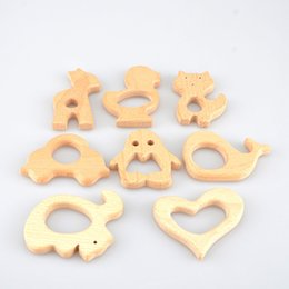 Wholesale Wooden Star Beads - 20PCS Organic Beech Wood Teether Toys Animal Shaped Bird Fish Elephant Star Heart Wooden Beads Teether Baby Teething Pacifier Toy Gifts