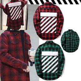 Wholesale Casual Diagonal - Off-White Checked Shirt Men Women Diagonal Stripes Print Casual Long Shirts Spring Autumn Flannel Plaid Shirt Cardigan Outwear