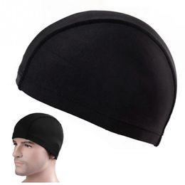 Wholesale Black Adult Swim - Hot Sale Nylon Unisex Swimming Caps Adult Waterproof Swimming Hat Swimming Head Cover Protect Ear Black Beach Swim Bathing Hats