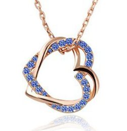 Wholesale Artificial Sweater - Gold Plated Damond Pendant Necklace Sweater Chain Grade Zircon Artificial Double Heart Shaped Diamond Pendant Jewelry for Xmas Gift