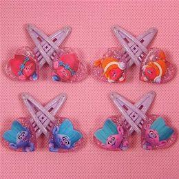 Wholesale Hairclip Hairpin - Hot sale! 20pairs Popular Trolls Design Cartoon Hairpin Hairclip Headwear baby Girl Hair accessories KIDS Hair clip Christmas Gift Acrylic
