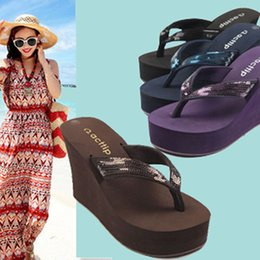 Wholesale Red Platform Wedge Sandals - Wholesale-Summer New Wedges Flip Flops Sequin Shoes High-heeled Sandals Antiskid Platform Women Sandals 2015