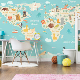 Wholesale Wall Map Mural - Cartoon animal world map wallpaper children room boys and girls bedroom wallpaper mural mural wall covering kindergarten enlightenment educa