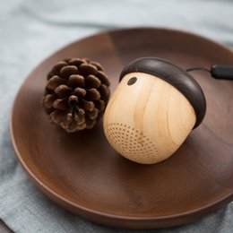 Wholesale Speaker Keychain - Nut Wireless Bluetooth mini Speaker Portable Cute Wooden Shape speaker Unique Design Outdoor Loudspeaker backpack keychain travel For iPhone