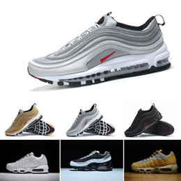 Wholesale Max Silver - New Max 97 Mens Low Running Shoes Cushion Men OG Silver Gold Anniversary Edition Sneakers Man Maxes Sport Athletic Sports Trainers Shoes