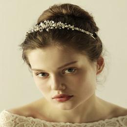 Wholesale Pearl Headpieces - Crystal headpiece Bride accessories Silver Rhinestone pearls bridal tiaras crystals pearls tiara Wedding hair accessories CPA907
