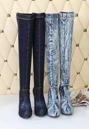 Wholesale Denim Boots For Women - Top Quality Elastic Denim Women Jeans Boots Runway Platform Sexy Over The Knee Boots Slim Canvas Autumn Knight Boots For Ladies
