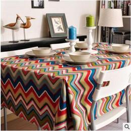 Tuval 100 * 150 kare Masa örtüsü su geçirmez pamuk Masa Örtüsü Bohemian renk şerit Ziyafet düğün Dekorasyon Masaları Ev Tekstili nereden