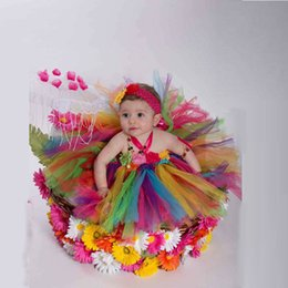 Wholesale Dress Rainbow Layer - Multicolour Halter Layers Tulle Baby Girl Dress Hand Made Flower Long Colorful Rainbow Girls dresses Customized Pageant Gowns