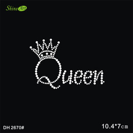 Wholesale Christmas Iron Transfers - Free shipping qunne wing rhinestone letters stickers iron on transfer DIY DH2670#
