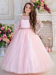 2019 bellissimi abiti rosa per i bambini Pizzo rosa 2017 Arabo Flower Girl abiti cristalli Ball Gown Tulle Bambino abiti da festa di nozze Beautiful Pageant Abiti bellissimi abiti rosa per i bambini economici